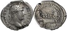 Ancient Coins - Hadrian, 117-138, Silver Denarius - Galley