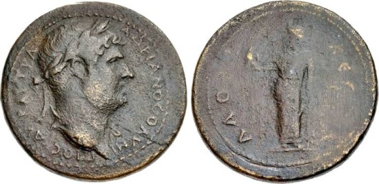 Ancient Coins - HADRIAN AE40 MEDALLION, 134-138. Phrygia, Laodicea ad Lycum mint. AE Medallion (40mm, 31.48 g, 12h). Laureate bust right, slight drapery / Zeus Laodiceus standing left, holding eag