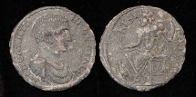 Ancient Coins - DIADUMENIAN, 218 AD. AE31 of Kibyra, BMC 56. /Zeus enthroned l., eagle stg. at his feet looking up at him. EF. Choice well centered large provincial bronze. Much superior to photo.