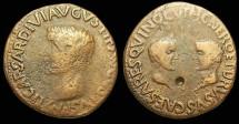 Ancient Coins - 2 SCARCE CAESARS. NERO and DRUSUS CAESARS, AE As of Carthago Nova, Spain. Struck by Tiberius. Obverse: TI CAESAR DIVI AVGVSTI F AVGVSTVS P M, laureate head of Tiberius right. Rever
