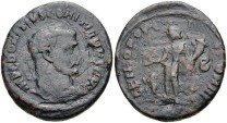 Ancient Coins - DOMITIUS DOMITIANUS. Usurper, AD 297-298. AE Follis (25mm, 10.30 g, 12h). Alexandria mint, 2nd officina. Laureate head right / Genius standing left, holding patera and cornucopia;