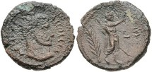 Ancient Coins - DOMITIUS DOMITIANUS. Usurper, AD 297-298. Alexandria mint. BI Octodrachm (24mm, 11.49 g, 12h). Dated RY 2 (AD 297/8). Radiate head right / Serapis standing right, holding scepter a
