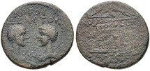 Ancient Coins - COMMODUS AND ANNIUS VERUS, (son of Marcus Aurelius and Faustina Jr.) Cilicia, Tarsus mint. Caesars, AD 166-169/70 and AD 166-177. AE (17mm, 3.28 g, 12h). Bust of Commodus left, vis