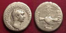 Ancient Coins - NERVA LEGIONARY FIDELITY CISTOPHOR, 96-98. Didrachm of Caesaria, S868. /Clasped hands holding legionary standard. VF.