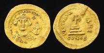 HERACLIUS WITH HERACLIUS CONSTANTINE GOLD SOLIDUS, 610-641. Gold Solidus, S738v. Facing busts of Heraclius & Heraclius Constantine/Cross potent. VF.