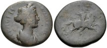 Ancient Coins - **RARE LADY MARCIANA, Augusta, circa AD 105-112/4. Lydia, Sardis. AE (19mm, 4.58 g, 6h). Draped bust right / Pelops on horseback galloping right. SNG von Aulock 3150; BMC 132.