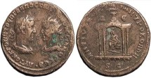 Ancient Coins - TREBONIANUS GALLUS AND VOLUSIAN, AE31 of Antioch. AVTOK K GA TREB GALLOC KAI OVOLOVCCIANOC CEB B Confronting busts. / City goddess in temple, ram above, D-E across upper fields. BM