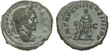 Ancient Coins - Caracalla AE As – Aesculapius – EF; good portrait