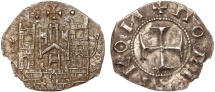 "Ancient Coins - Anonymous ""Politikon"" coinage: billon tornese – Castle/Cross – EF; rare; very well-preserved for type"