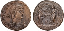 Ancient Coins - Decentius, Caesar AE centenionalis – Two Victories holding vows