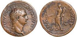 Ancient Coins - Domitian as Caesar AE sestertius – Pax – Fine style portrait