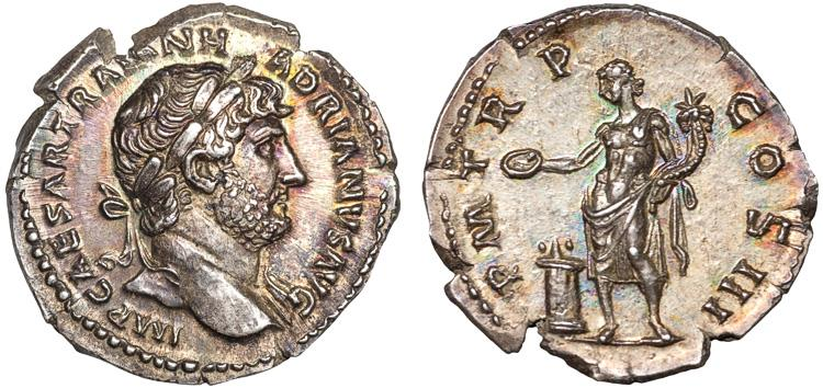 Ancient Coins - Hadrian AR denarius – Genius sacrificing – EF; attractive toning