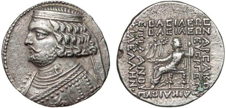 Ancient Coins - Parthian Kingdom: Orodes II AR tetradrachm – King and Nike