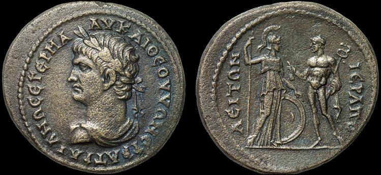 Trajan AE32 Hierapolis. Phrygia - Athena and Hermes