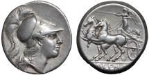 Ancient Coins - Campania. Cales: AR didrachm (nomos) – Athena/Nike in biga – Good metal; rare variety