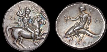 Calabria, Tarentum: AR stater (didrachm, nomos) – Warrior on horseback/Taras astride dolphin – EF; fine style; attractive toning; lustrous