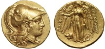 Ancient Coins - Macedonian Kingdom: Alexander III AV stater – Athena/Nike and head of satyr – Scarce, lustrous