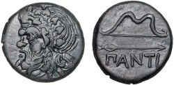 Ancient Coins - Cimmerian Bosporos. Pantikapaion: AE25 – Pan (or satyr?)/Bow and arrow