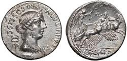Ancient Coins - C. Annius T.f. T.n. Luscus and L. Fabius L.f. Hispaniensis AR denarius – Anna Perenna/Victory in quadriga – EF; lustrous