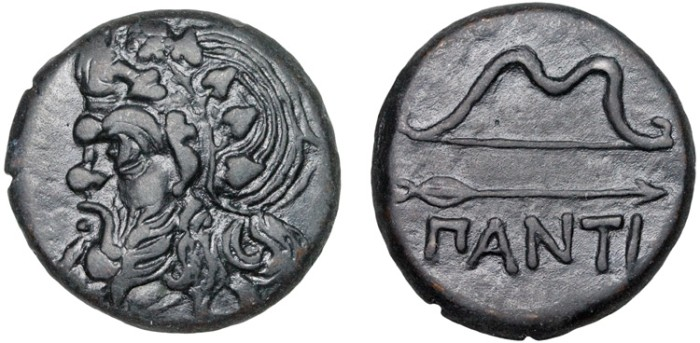 Ancient Coins - Cimmerian Bosporos. Pantikapaion: AE25 – Pan (or satyr?)/Bow and arrow