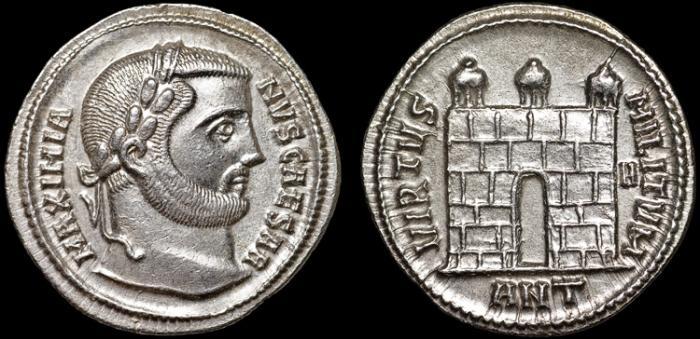 Ancient Coins - Galerius as Caesar AR argenteus – Campgate – EF, rare