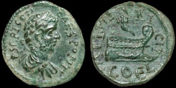 Ancient Coins - Geta AE19. Coela. Thrace – Prow with dolphin