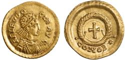 Ancient Coins - Aelia Eudocia AV tremissis – Cross in wreath – gEF