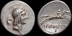 Ancient Coins - Calpurnius Piso L.f. Frugi AR denarius – Apollo/Horseman racing