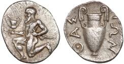 Ancient Coins - Thrace. Thasos AR trihemiobol – Satyr/Amphora – Large flan; fine style