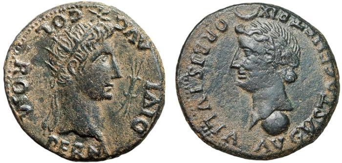 Ancient Coins - Augustus AE33 Colonia Romula, Hispania – Divus Augustus – Livia