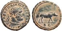 Ancient Coins - Trajan AE quadrans – Hercules/Boar