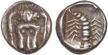 Ancient Coins - Caria. Mylasa(?): AR obol – Lion forepart/Scorpion