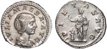 Julia Maesa AR denarius – Pietas – EF; good metal