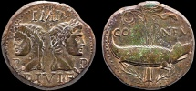 Ancient Coins - Augustus and Agrippa AE As; Nemausus. Gaul – Chained crododile – Strong portraits; well-centered on a large flan for type