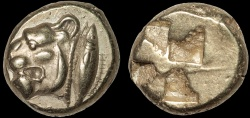 Ancient Coins - Mysia, Cyzicus: EL hecte – Lioness and tunny/Incuse square – EF; well-centered for type; strong strike from unusually fresh die