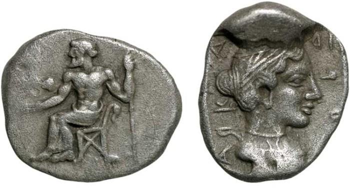 "Ancient Coins - Arcadia. Arcadian League. Tegea: AR hemidrachm – Zeus/Kallistos – Work of the ""Koppa master""; beautiful archaic style"