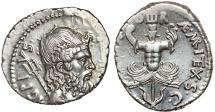 Ancient Coins - Sextus Pompey AR denarius – Neptune/Trophy; trident; anchor; two heads of Scylla