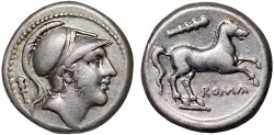 Ancient Coins - Anonymous AR didrachm – Mars/Horse