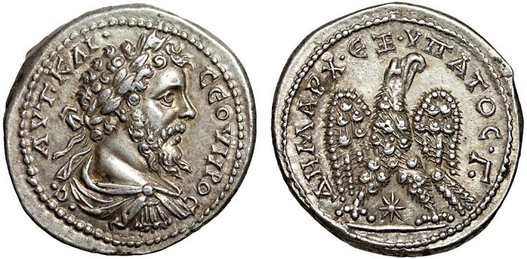 Ancient Coins - Septimius Severus AR tetradrachm. Laodicea ad Mare. Syria – Eagle – Fine style; very rare; attractively toned