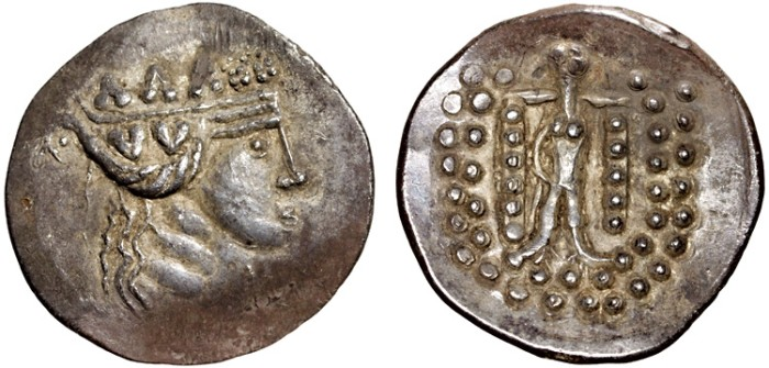 Ancient Coins - Danube Basin: AR tetradrachm imitating Thasos – Stylized Dionysos/Stylized Herakles – Göbl Class V – EF