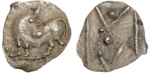 Ancient Coins - Lucania. Sybaris: AR obol – Bull/V within M