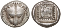 Ancient Coins - Islands off Ionia. Samos: AR triobol – Panther/Ox – Rare and well-preserved