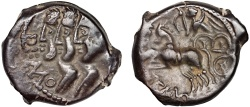 Ancient Coins - Gaulic Celts. Remi: Æ17 – Three busts/Victory in biga