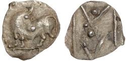 Ancient Coins - Lucania. Sybaris: AR obol – Bull/V within M
