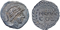 Ancient Coins - Gaul. Nemausus AR obol – Male bust (Mars?)/Legend – Rare lone silver issue of Nemausus – Well-centered on a large flan for type