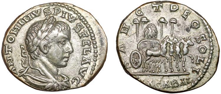 Ancient Coins - Elagabalus AR denarius – Stone of Emesa on quadriga – Rare; details on Stone perhaps depicting meteorite regmaglypts