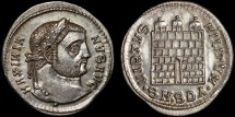 Ancient Coins - Galerius as Augustus AR argenteus – Campgate – EF