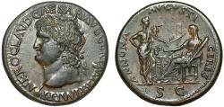 Ancient Coins - Nero AE sestertius – Ceres and Annona with grain ship
