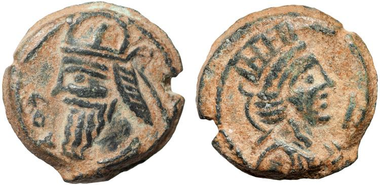 Ancient Coins - Parthian Kingdom: Vologases IV AE dichalkon – Tyche – Excellent example of type
