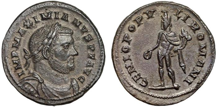 Ancient Coins - Maximianus AE follis – Genius – London – Attractive patina